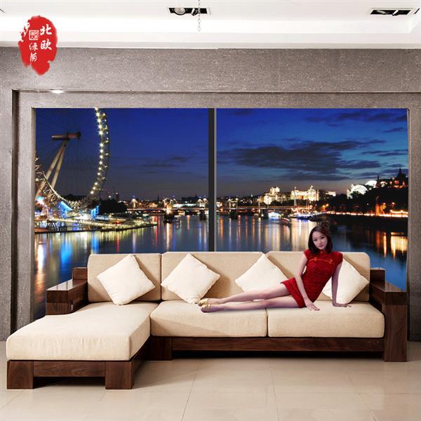 新品黑胡桃贵妃实木沙发组合 现代简约中式L型转角木架沙发