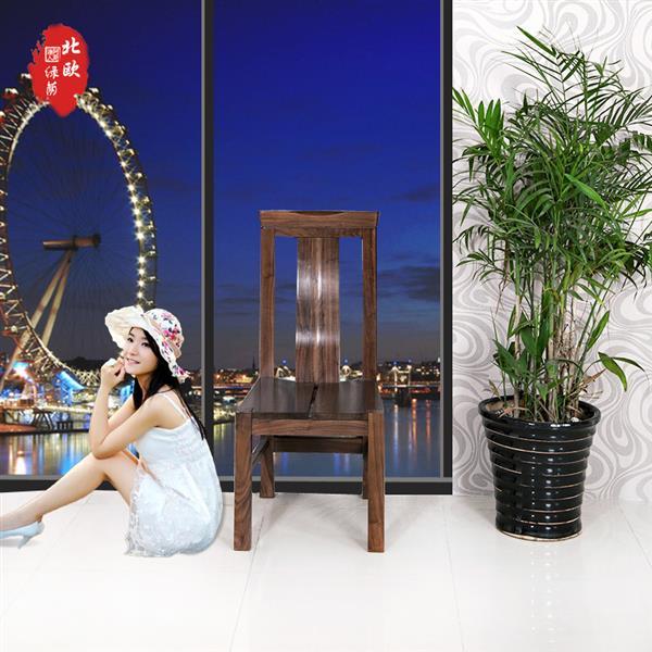 黑胡桃实木长条凳靠背餐椅 现代简约靠背实木凳子椅